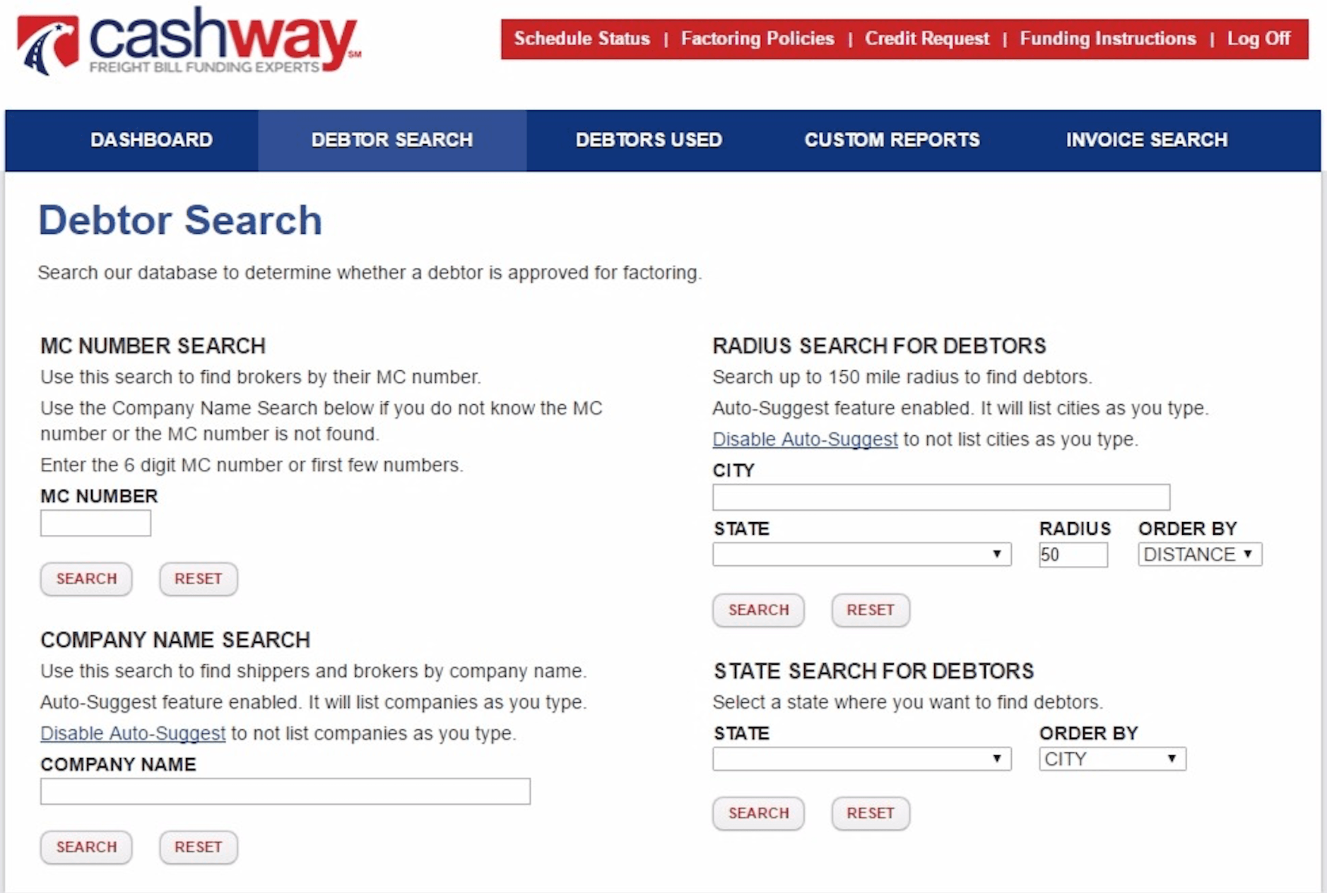 Cashway Online Account Manager Broker and Shipper Search for Factoring Clients