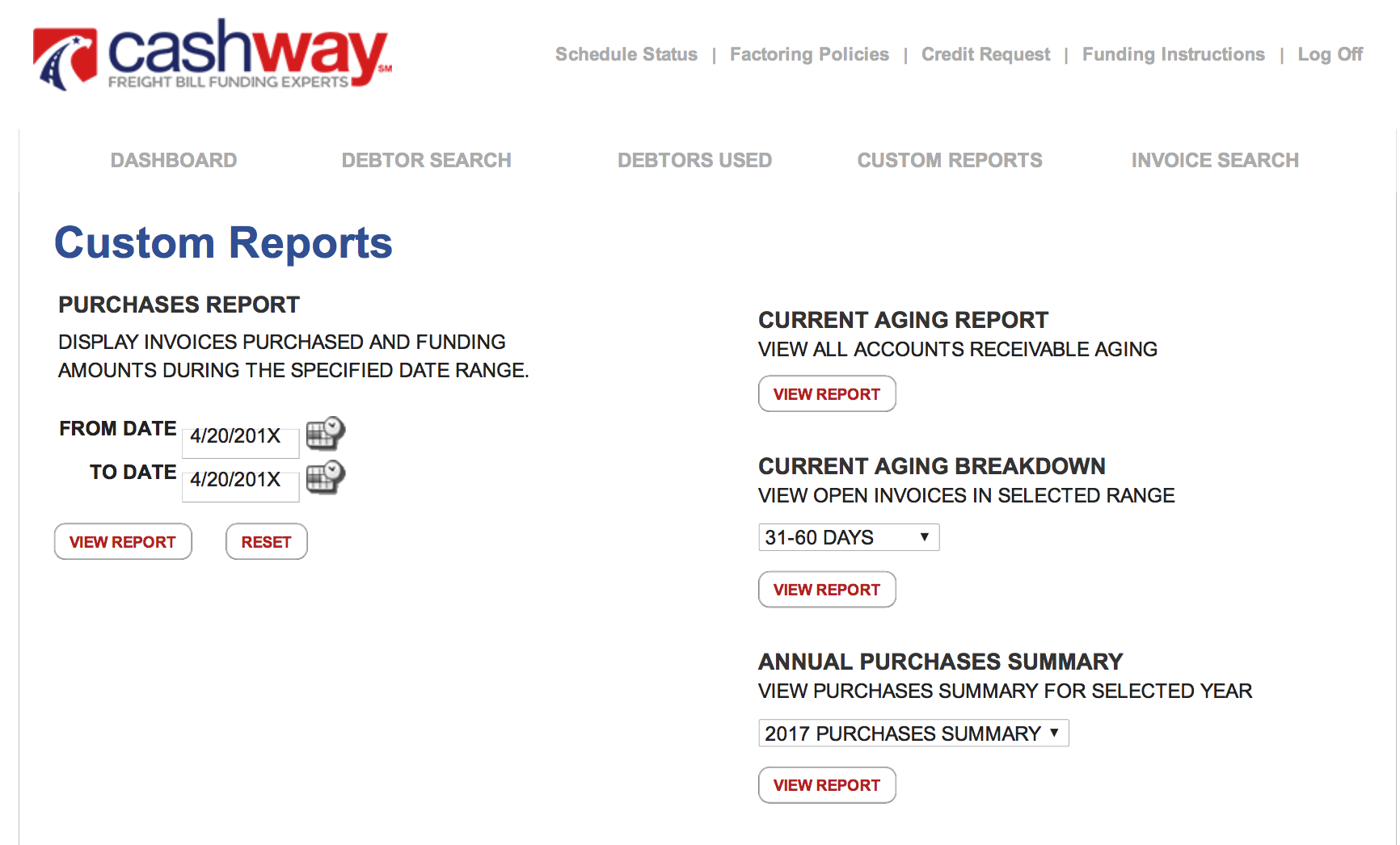 Cashway Online Factoring Account Manager provides detailed custom factoring reports for free