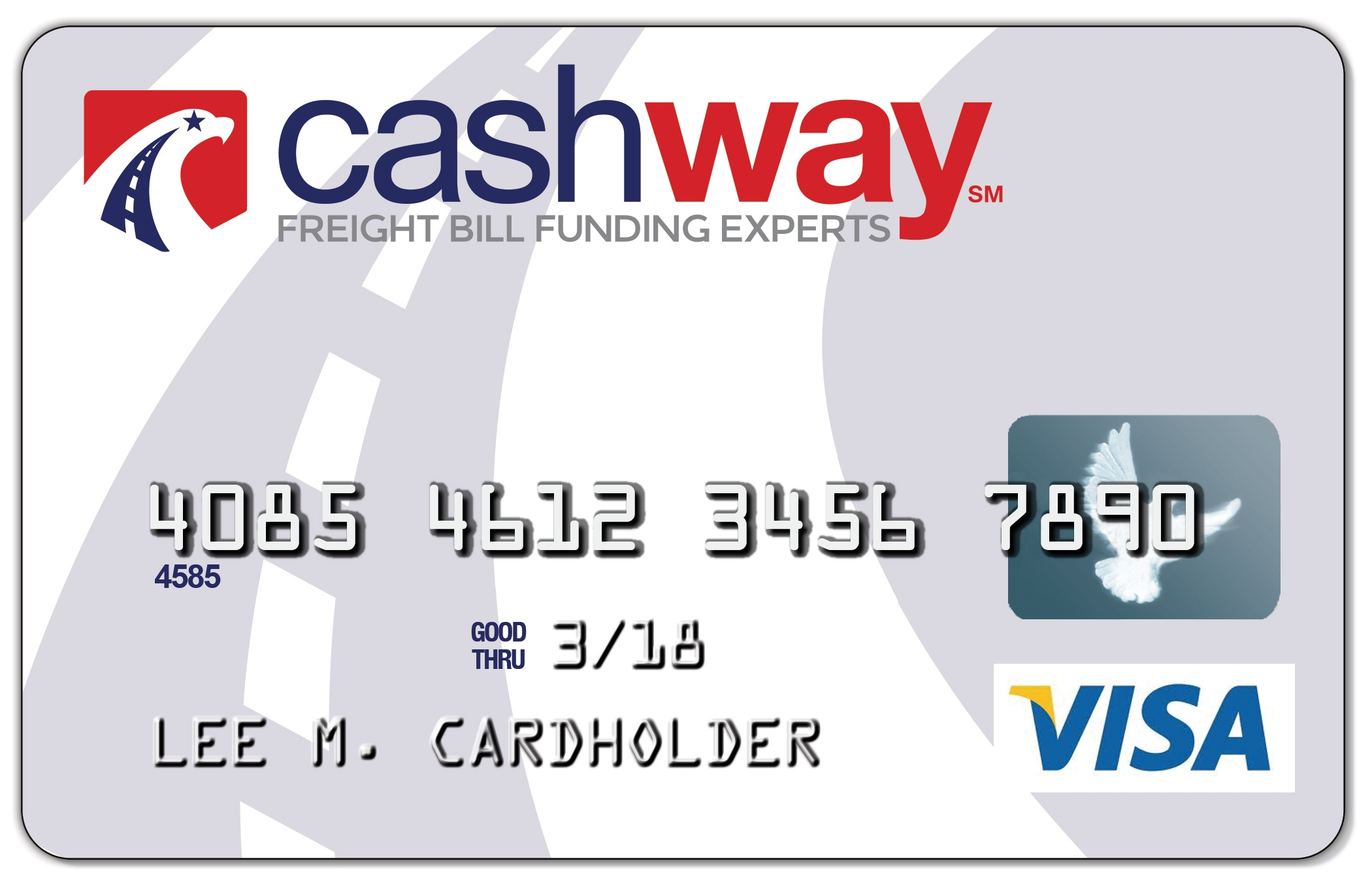 The Cashway Prepaid VISA card.  A world of purchasing freedom for factoring clients.